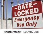 gate is lock for emergency use... | Shutterstock . vector #100987258