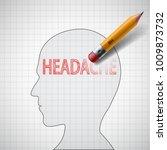 pencil erases the word headache ... | Shutterstock .eps vector #1009873732
