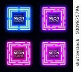 neon light square banners set.... | Shutterstock .eps vector #1009875796