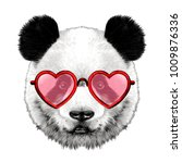 head panda with glasses in... | Shutterstock .eps vector #1009876336