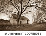 White house farm house - oldest farm building in West Virginia - stock photo