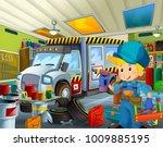 cartoon scene with garage...   Shutterstock . vector #1009885195