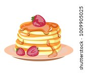 traditional pancakes with... | Shutterstock . vector #1009905025