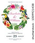 tropical wedding invitation... | Shutterstock .eps vector #1009921438