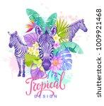 tropical summer arrangement... | Shutterstock .eps vector #1009921468