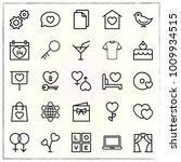 valentine's day line icons set... | Shutterstock .eps vector #1009934515