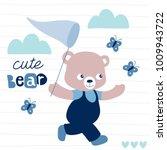 little teddy bear catches...   Shutterstock .eps vector #1009943722