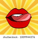 sweet red lips on dot and... | Shutterstock .eps vector #1009944376