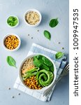 roasted chickpeas spinach... | Shutterstock . vector #1009947535