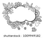 floral frame in doodle style...   Shutterstock .eps vector #1009949182