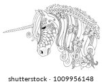 unicorn with butterflies. hand... | Shutterstock .eps vector #1009956148