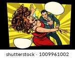 fight  man hits woman. domestic ... | Shutterstock .eps vector #1009961002