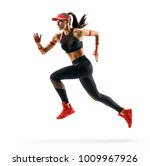 woman runner in silhouette on... | Shutterstock . vector #1009967926