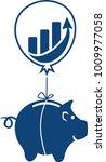 a piggy bank piggyback  hanging ... | Shutterstock .eps vector #1009977058