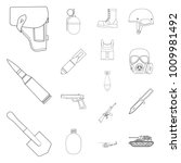 army and armament outline icons ... | Shutterstock .eps vector #1009981492