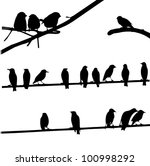 Birds On Wires  Silhouette Set