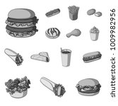 fast food monochrome icons in... | Shutterstock .eps vector #1009982956