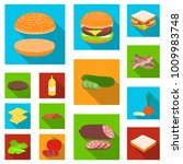 burger and ingredients flat... | Shutterstock .eps vector #1009983748