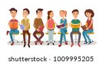 group of people reading books... | Shutterstock .eps vector #1009995205