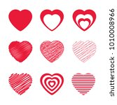 vector hearts icons set.... | Shutterstock .eps vector #1010008966