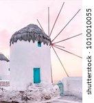the mykonos windmills are... | Shutterstock . vector #1010010055