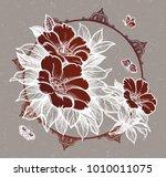 peony or rose flower branch... | Shutterstock .eps vector #1010011075