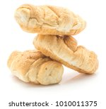 three folded croissants or... | Shutterstock . vector #1010011375