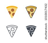 pizza slice flat line silhouette | Shutterstock .eps vector #1010017432