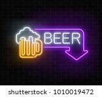 glowing neon beer pub signboard ... | Shutterstock .eps vector #1010019472