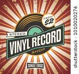vinyl record shop retro sign... | Shutterstock .eps vector #1010020276