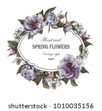 floral greeting card with... | Shutterstock . vector #1010035156