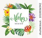 tropical hawaiian flyer with... | Shutterstock .eps vector #1010036542