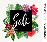 tropical hawaiian sale flyer... | Shutterstock .eps vector #1010036566