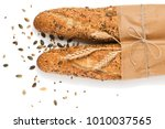 top view of two baguettes baked ... | Shutterstock . vector #1010037565