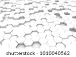 white hexagon 3d background... | Shutterstock . vector #1010040562