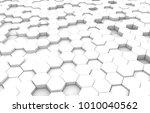 white hexagon 3d background... | Shutterstock . vector #1010040562