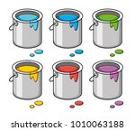 paint bucket cans isolated ... | Shutterstock .eps vector #1010063188