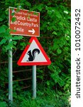 Small photo of ARRAN, SCOTLAND -12 JULY 2017- View of a Squirrel Crossing yield sign on the Isle of Arran in Scotland.
