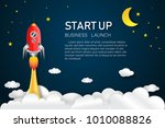 rocket launch on the half moon  ... | Shutterstock .eps vector #1010088826