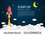 rocket launch on the half moon  ... | Shutterstock .eps vector #1010088826