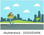 women ride scooter in the park  ... | Shutterstock .eps vector #1010101696