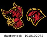 angry owl mascot with sport... | Shutterstock .eps vector #1010102092