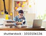businessman check inventory...   Shutterstock . vector #1010106136