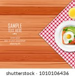 breakfast table with fried eggs ... | Shutterstock .eps vector #1010106436