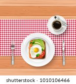 breakfast menu with fried egg ... | Shutterstock .eps vector #1010106466