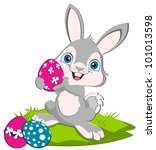 easter bunny holding a pink egg ... | Shutterstock .eps vector #101013598