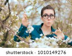 funny girl surrounded by... | Shutterstock . vector #1010149276