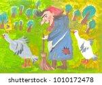 the old woman is yaga and two... | Shutterstock . vector #1010172478