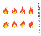 fire icons set. colorful flames ... | Shutterstock .eps vector #1010174395