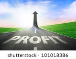 A road turning into an arrow rising upward symbolizing growth and improvement of profit - stock photo